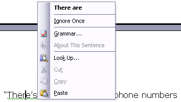MS Word Spellchecker showing an English grammar mistake