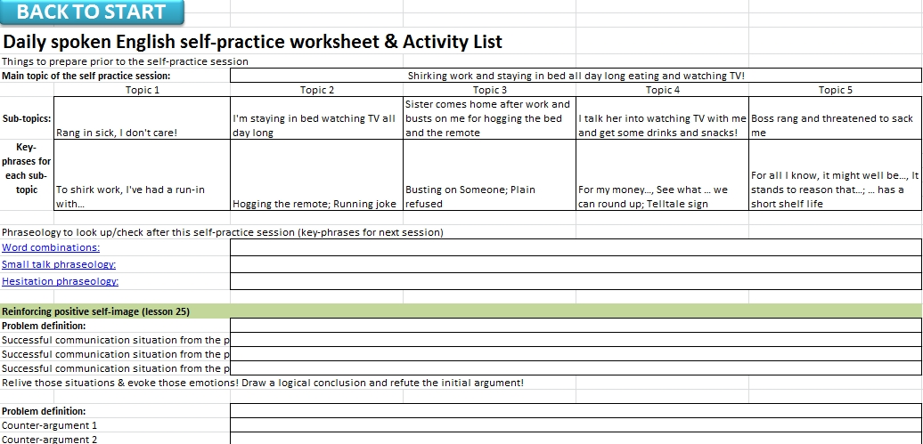 Using American Phrases 13 24 in a SelfPractice Session – Action Plan Work Sheet