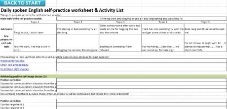 Fluency Gym Coach Program Activity Sheet