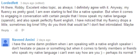 Cant' speak with my own language speakers in English