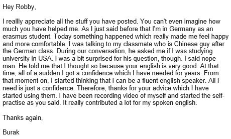 Speaking in English with yourself works